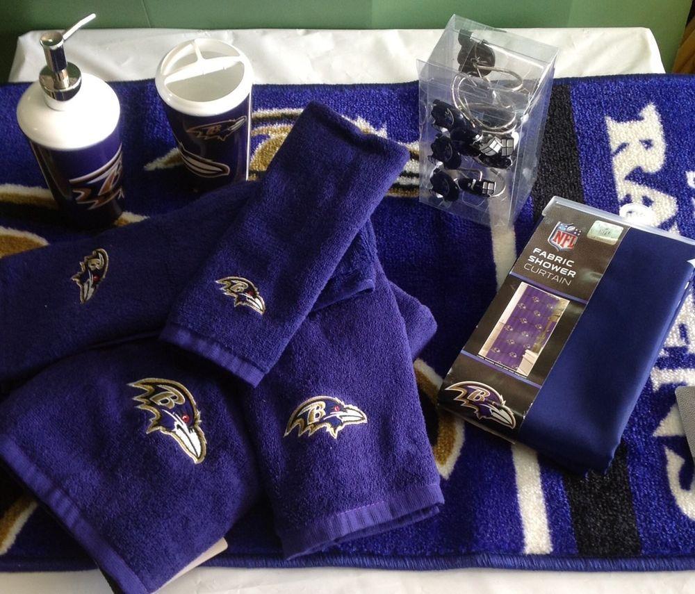 Baltimore Ravens Bath 20 Piece Set Soap Pump Rug Shower Curtain Hooks Towel NEW BaltimoreRavensBathroom