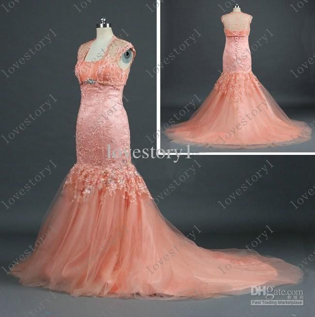 new style orange pink appliques mermaid wedding dresses bridal dress pageant gown dress bg145