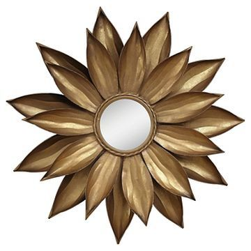 Framed Dahlia Flower Mirror Gold