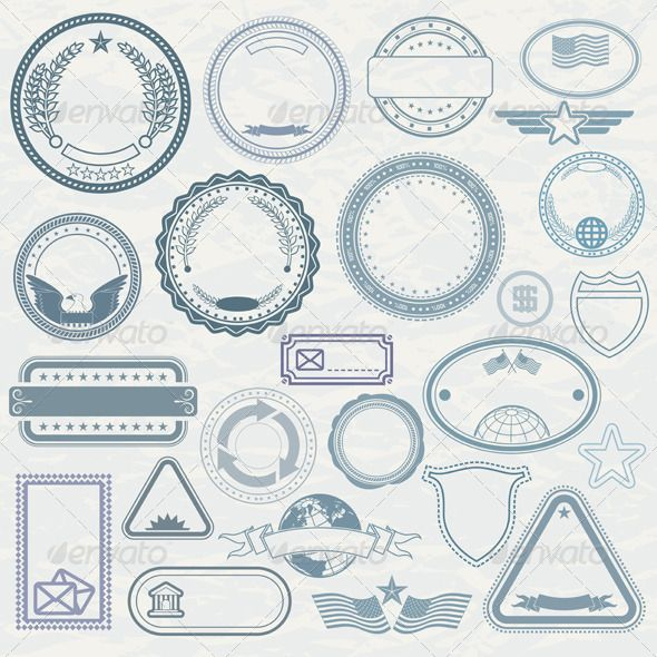 Templates Of Rubber Stamps Vector Pack  Stamps Template And