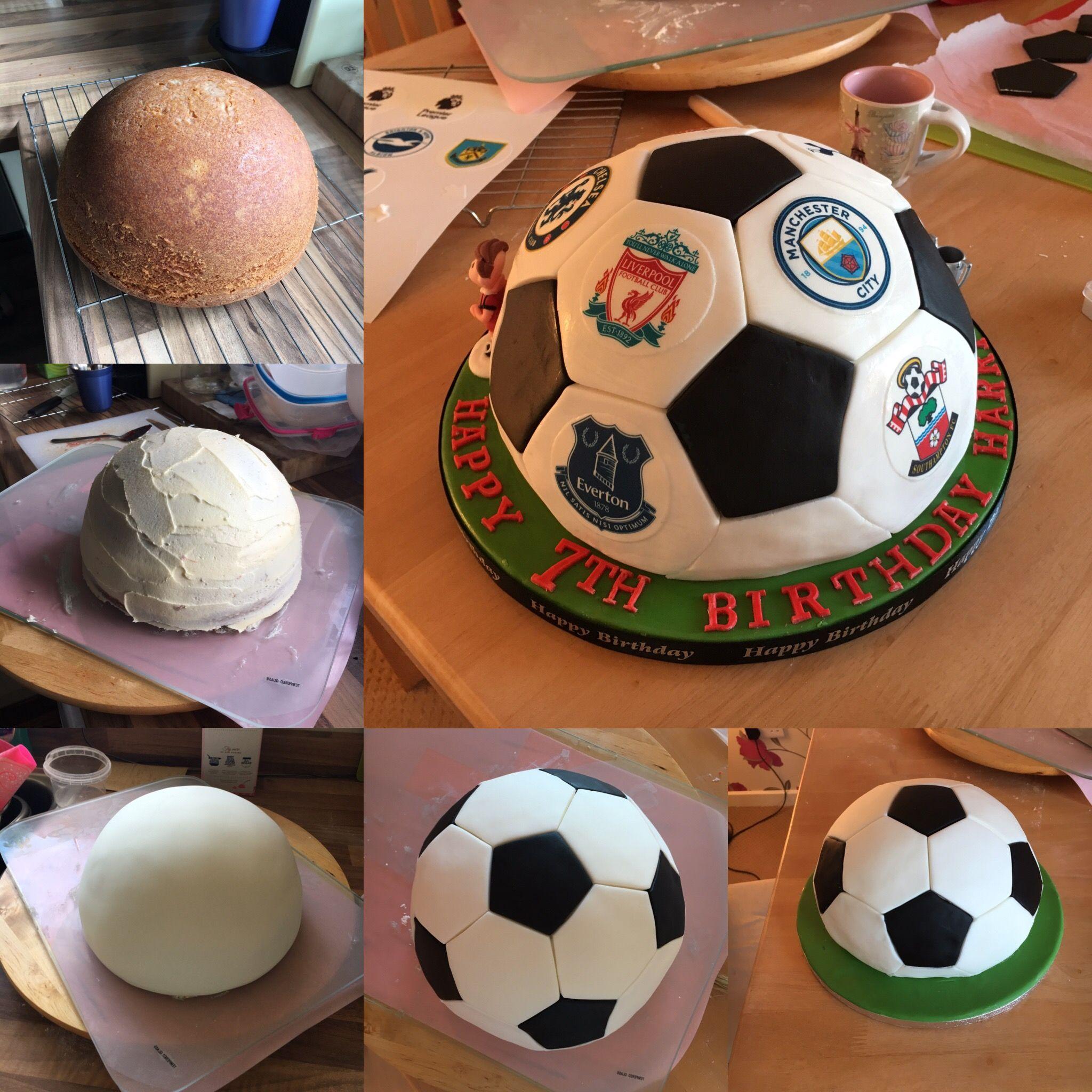 Football Soccer Ball Cake 8 5 Lakeland Dome Cake Pan Was Used Football Cake Soccer Ball Cake Soccer Cake