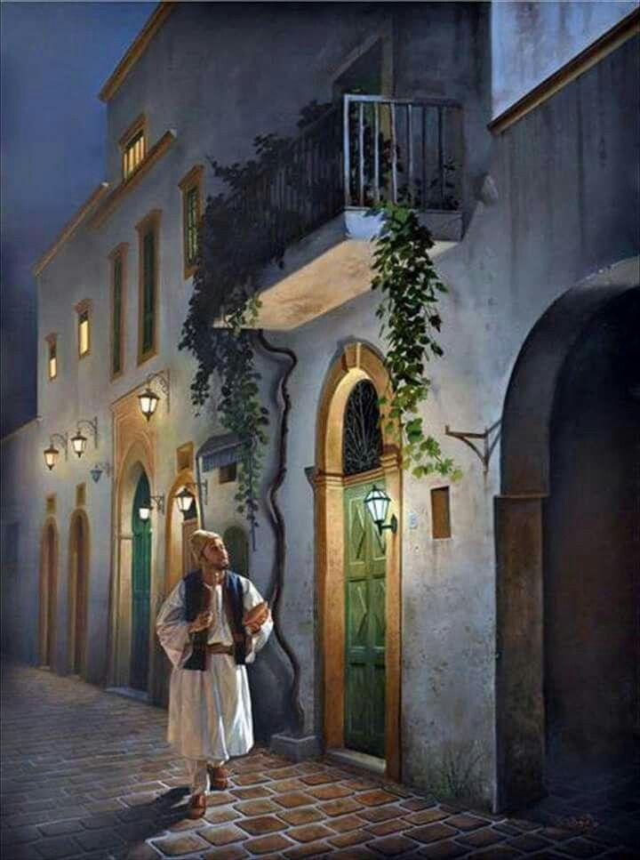سهر الليل لوحة فنية للفنان عبد الرازق الرياني Arab Artists City Painting Arabian Art