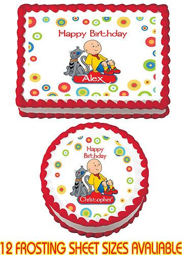 Caillou Edible Birthday Party Cake Image Sticker Cupcake Topper