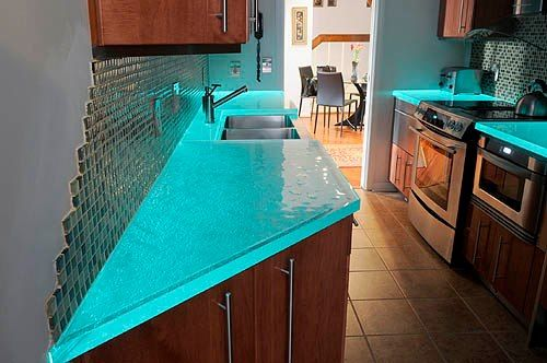 Bio-glass counter tops - eco friendly - use for any surface - super durable - about $100/sf though #countertop
