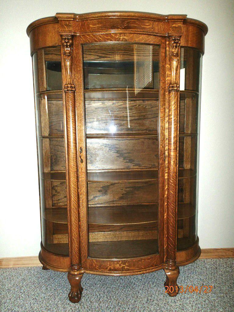 Antique Tiger Oak Bowed Glass Curio China Cabinet C 1900 | eBay