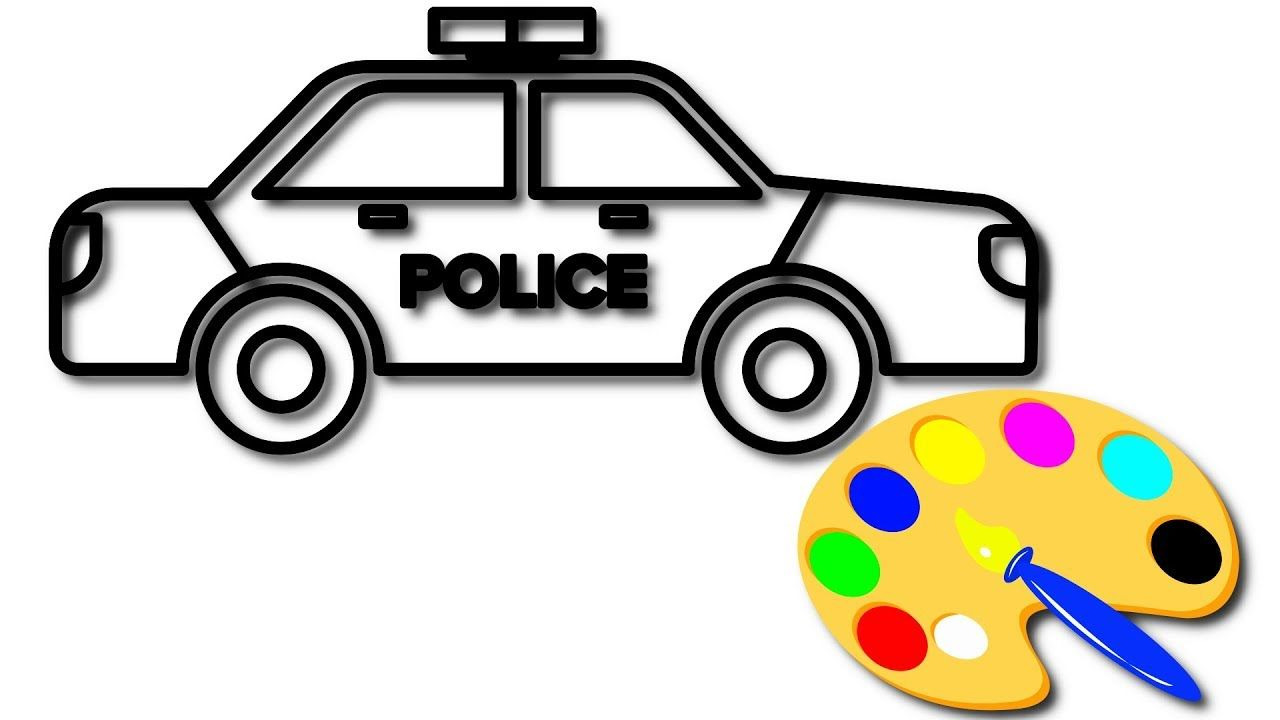 Police car coloring pages, Learn colors for kids, KidsTV Jacky | Car ...