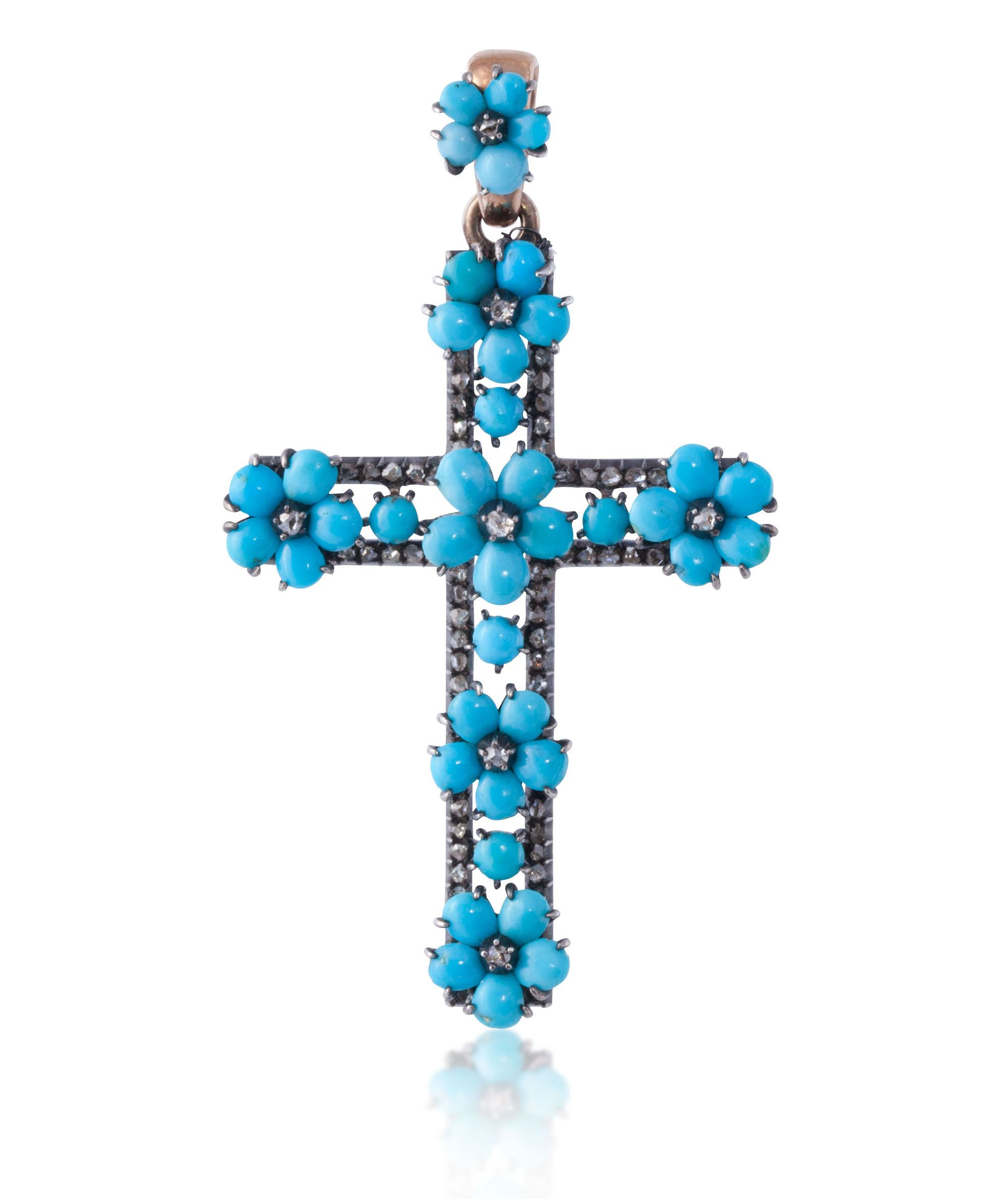 ANTIQUE TURQUOISE ENGLISH CROSS c1880 SET IN YELLOW GOLD AND SILVER I William Noble | Estate Jewelry
