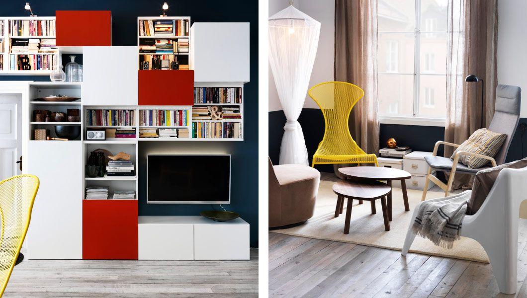 IKEA Österreich, Wohnzimmer mit BESTÅ Aufbewahrungskombi weiß ...