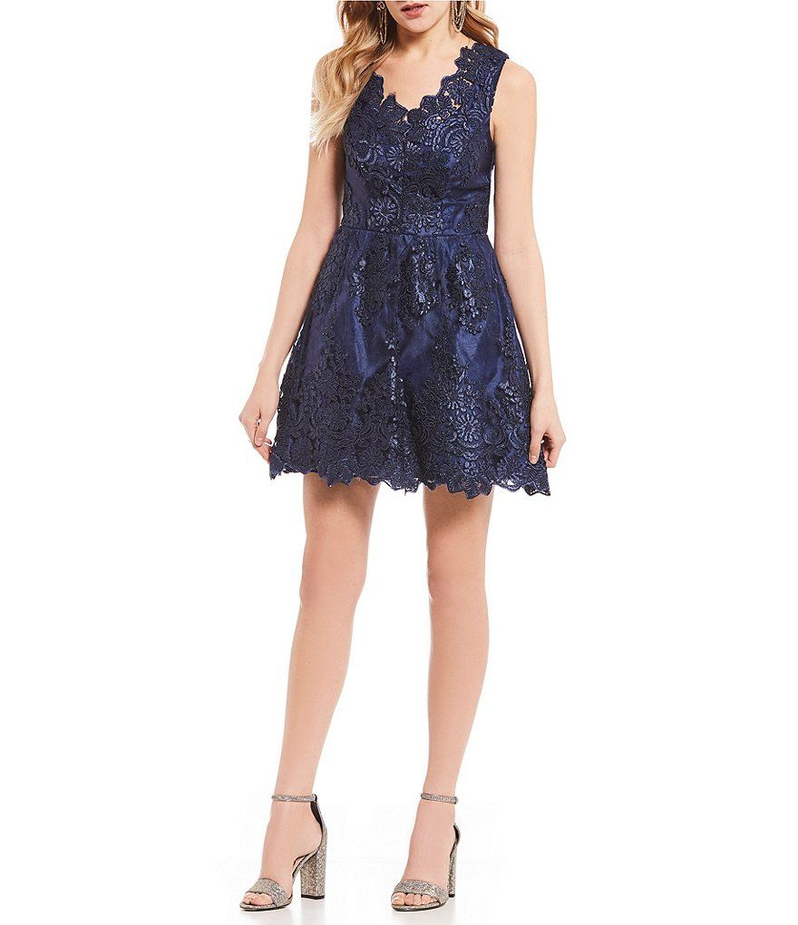 4fd159cc181 B. Darlin V-Neck Embroidered Fit-and-Flare Dress in 2019