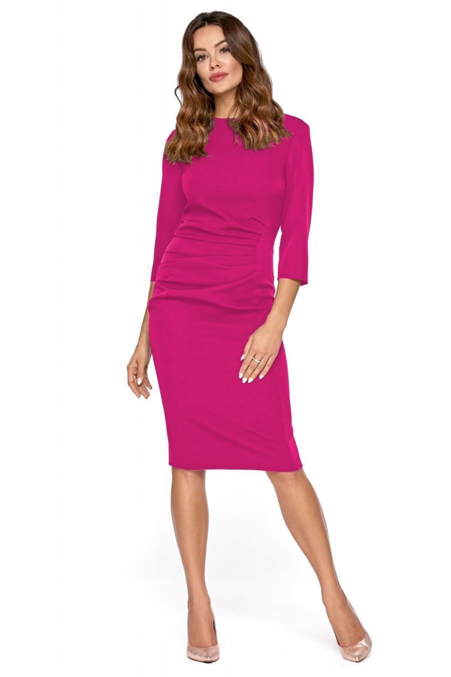 Ołówkowa Sukienka Z Drapowaniem Fuksja Km285 6 Sukienka Sukienki
