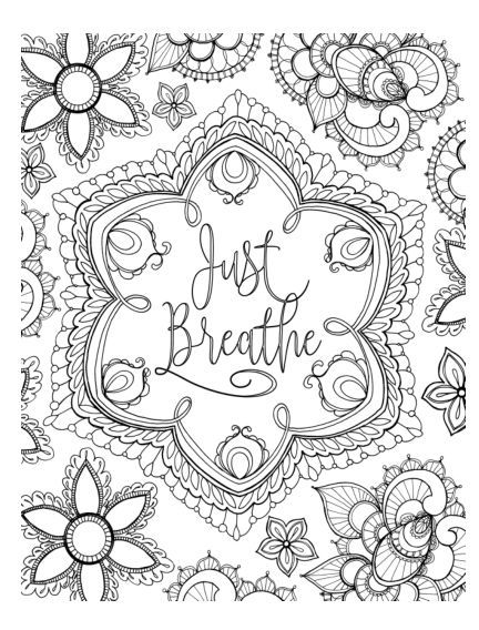 just breathe colouring page cardmaker coloring coloring pages inspirational quote. Black Bedroom Furniture Sets. Home Design Ideas