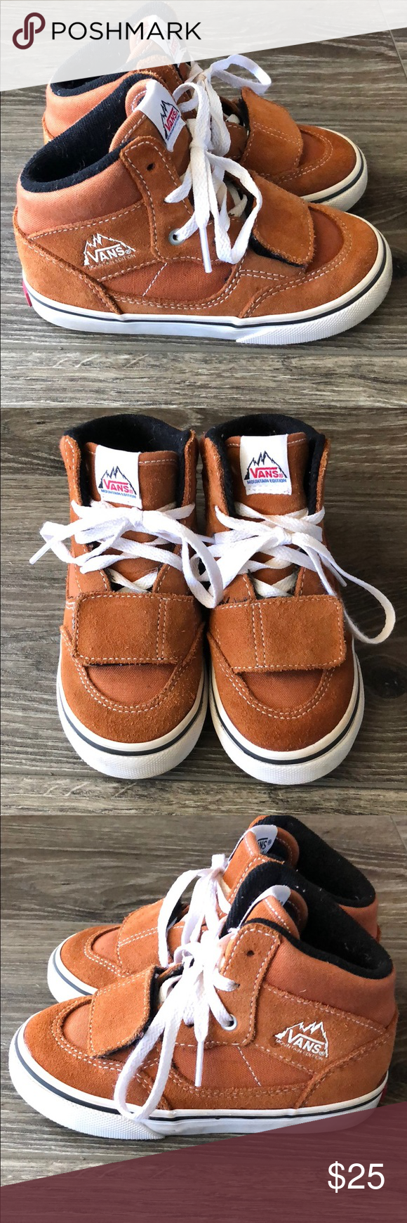 e161a8a89a Material Canvas and Suede. Featuring small Velcro strap across toe. Ships  ASAP. Vans Shoes Sneakers. Toddler Vans Mountain Edition in Glazed Ginger  ...