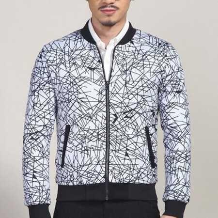 dc51ea5ee XXXL Geometric bomber jacket for men autumn winter black and white ...