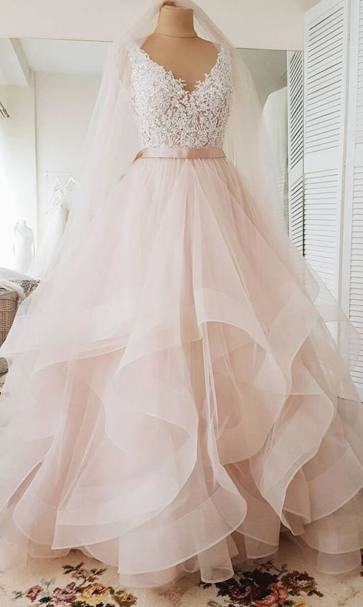 Blush Pink With White Lace Mermaid Wedding Dress Lace Applique Wedding Dress Inexpensive Wedding Dresses Lace Mermaid Wedding Dress