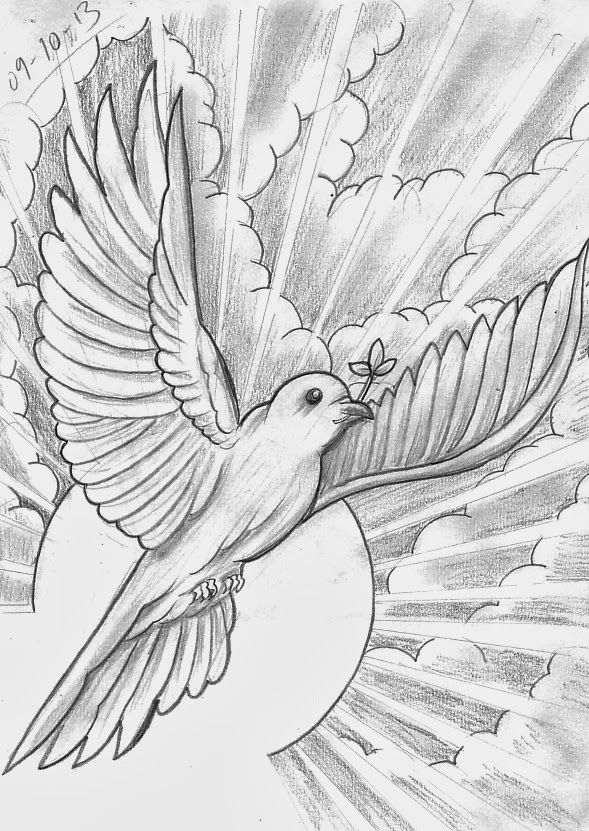 Dove From Heaven With Images Christian Drawings Sketches