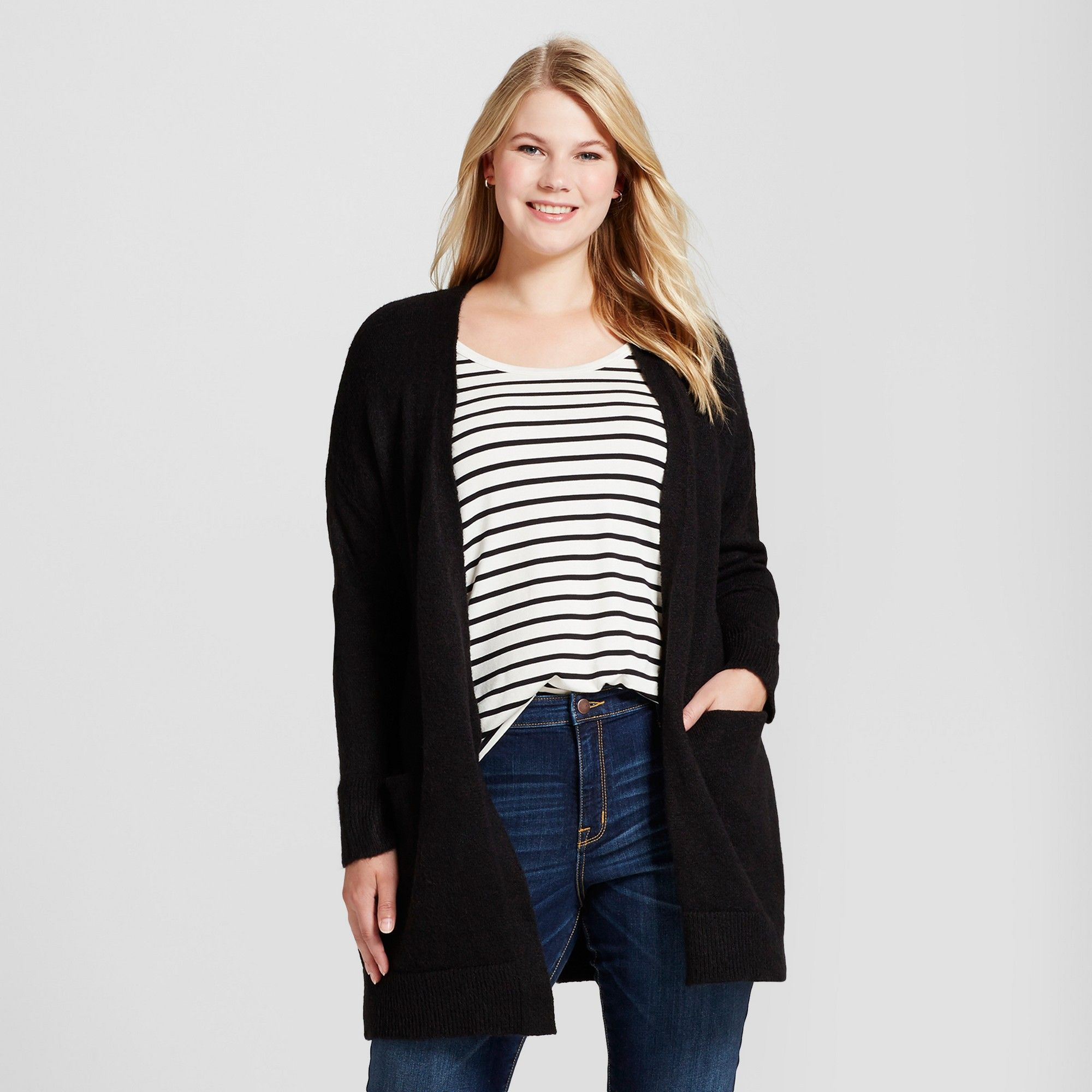 bad1ceec34 Women's Plus Size Cozy Cardigan - Ava & Viv Black 2X | Products ...