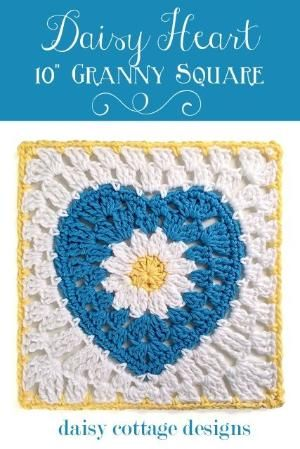 Daisy Heart 10 Granny Square Motif By Lauren Free Crochet Pattern
