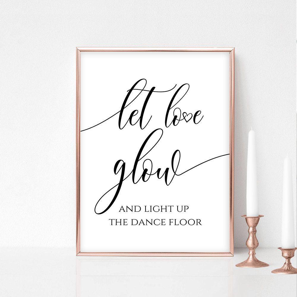 Let Love Glow Stick Sign, Glow Stick Sign, Wedding Glow Sticks, Wedding Dance Floor, Calligraphy, 5x7, 8x10, FPC#5x7 #8x10 #calligraphy #dance #floor #fpc #glow #love #sign #stick #sticks #wedding