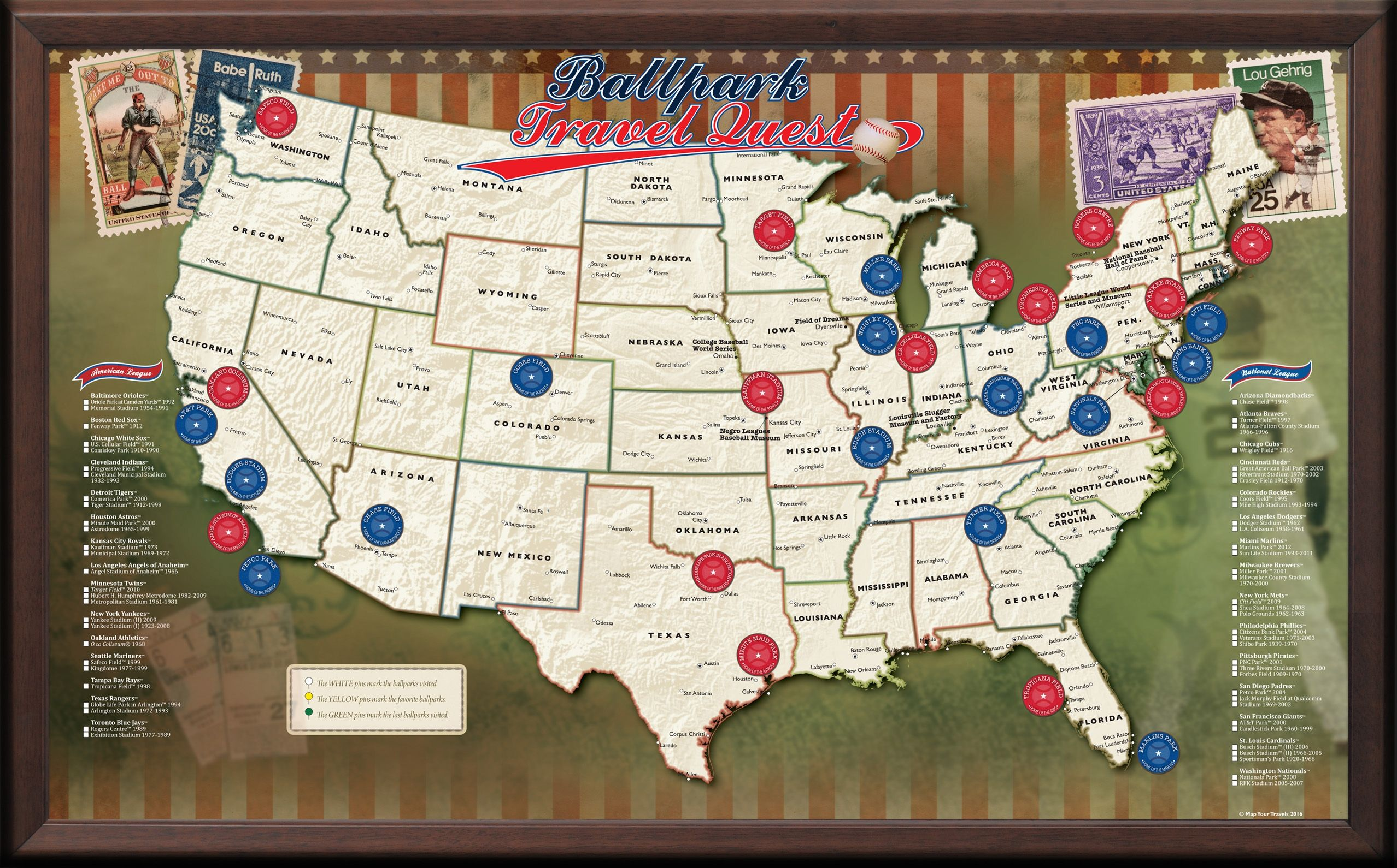 Usa Baseball Push Pin Map Framed And Personalized From Onlyglobes Map Of Us Baseball Par Baseball Stadium Map Major League Baseball Stadiums Baseball Posters