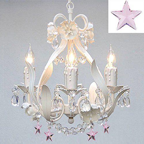 White iron empress crystaltm chandelier lighting w pink crystal white iron empress crystaltm chandelier lighting w pink crystal stars aloadofball Gallery