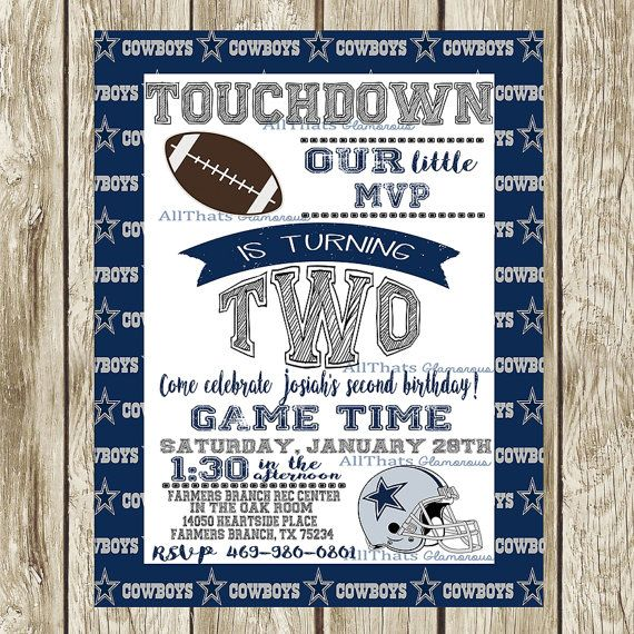 3 Year Olds Dallas Cowboys Sports Birthday Party Invitation Football 3rd Cowboy