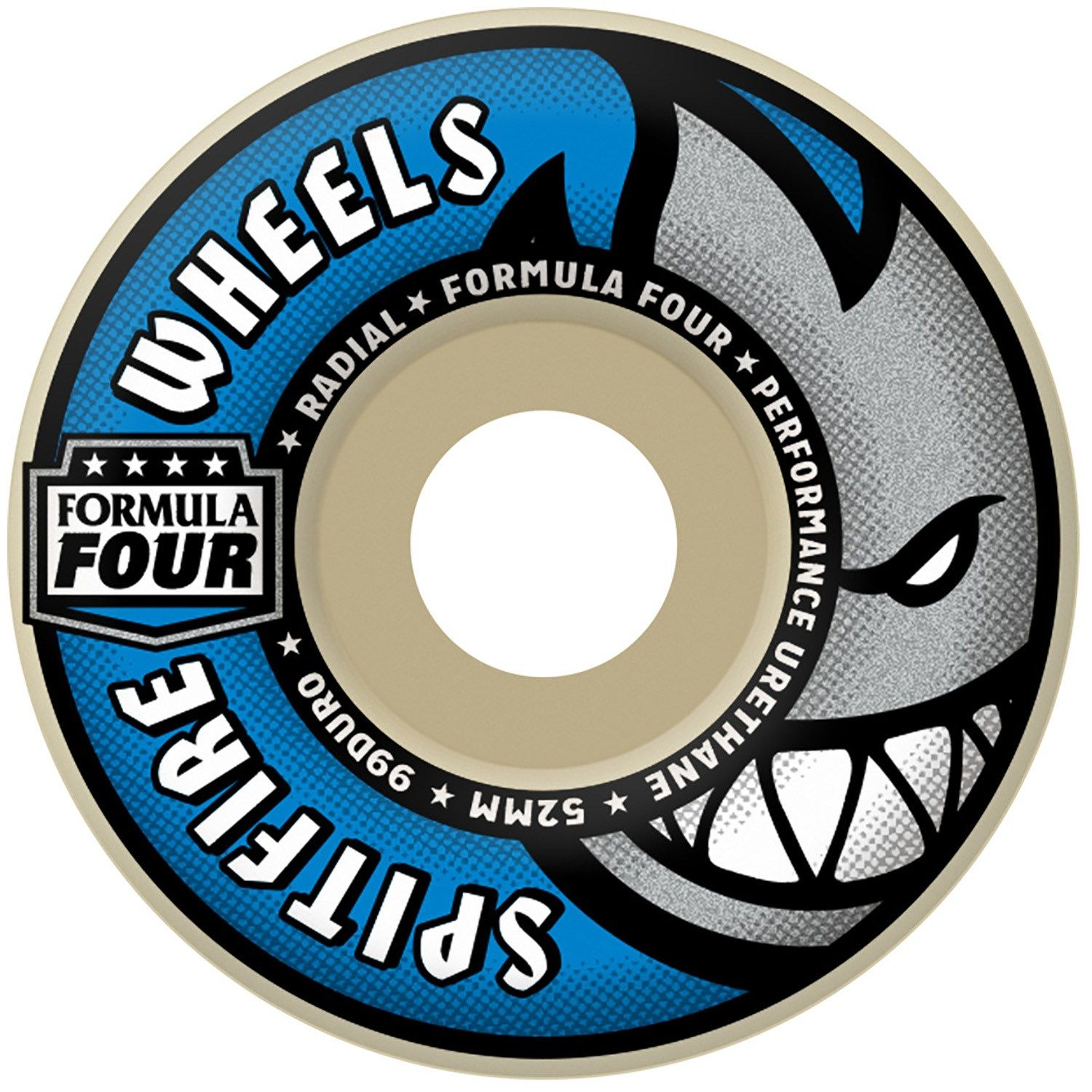 evo.com | Spitfire Skateboard Wheels > The Spitfire Formula Four 99D Radial Skateboard Wheels roll fast and take abuse. Designed with a round edge for control and a responsive slide. Radial Shape Round edges, slim to medium riding surface offers a quick, responsive , round edge shape. Formula Four Urethane Formula Four urethane is unlike any other. Both in the streets and under high-speed stress tests in Spitfire's lab, Formula Four wheels retained more material, coned less and kept their origin