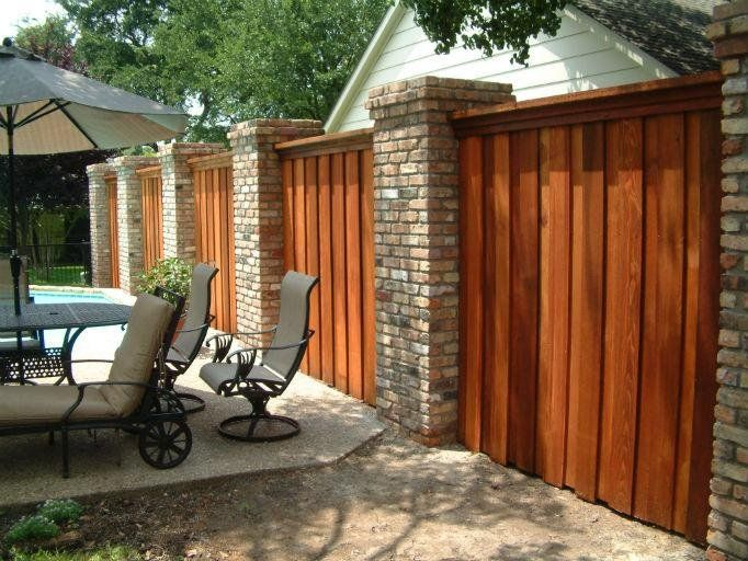 Residential Decorative Wood And Brick Fence | Yelp | Fence ...