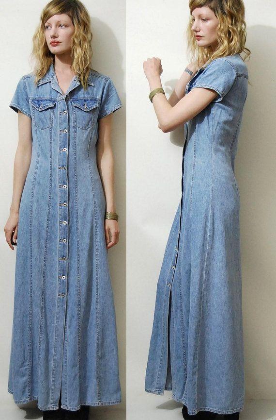 90s Vintage Denim Dress Maxi Long Button Down Vtg 1990s Pale Etsy Vintage Denim Dress Maxi Dress Dresses