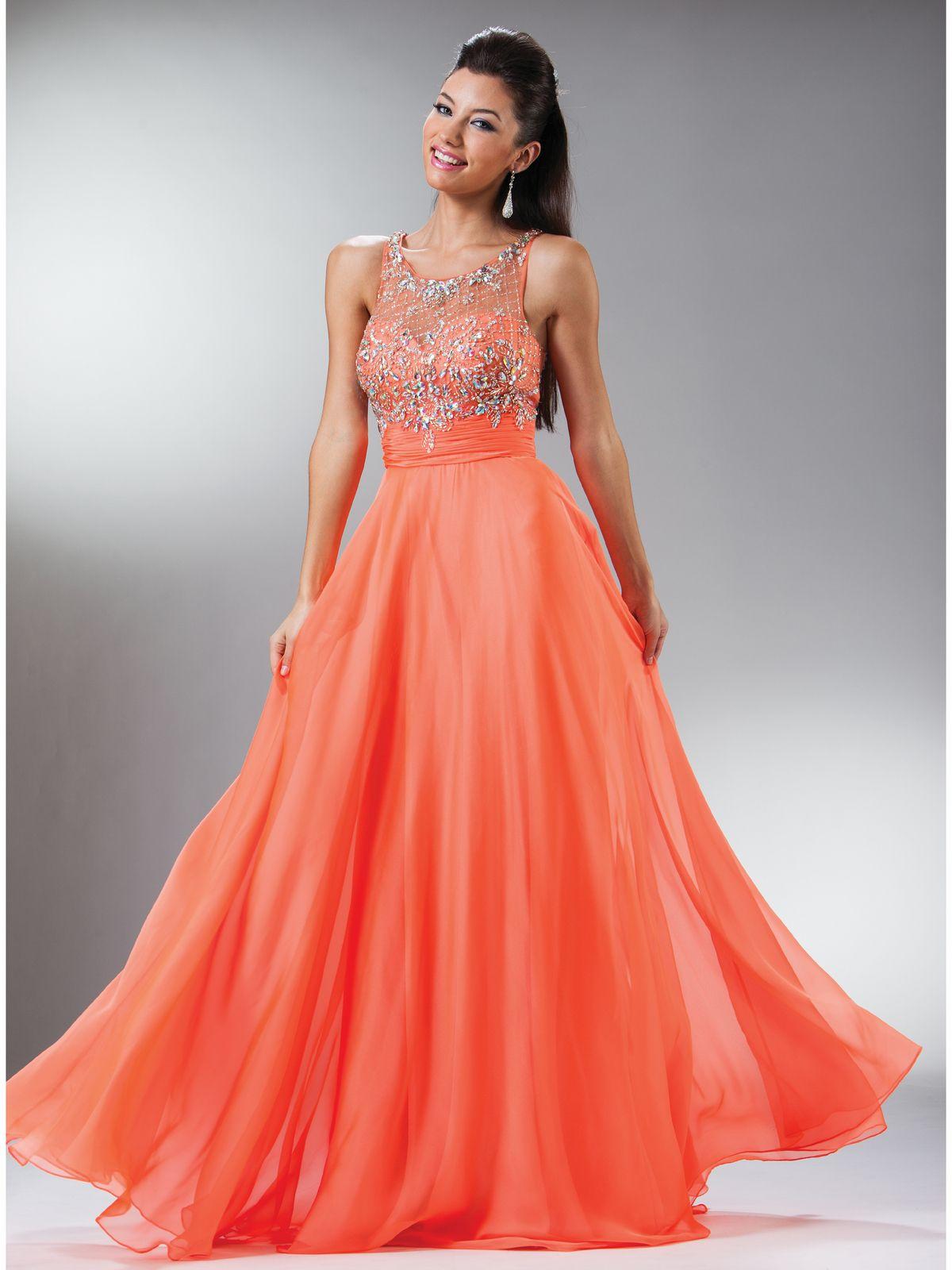 Orange Long Elegant Dresses