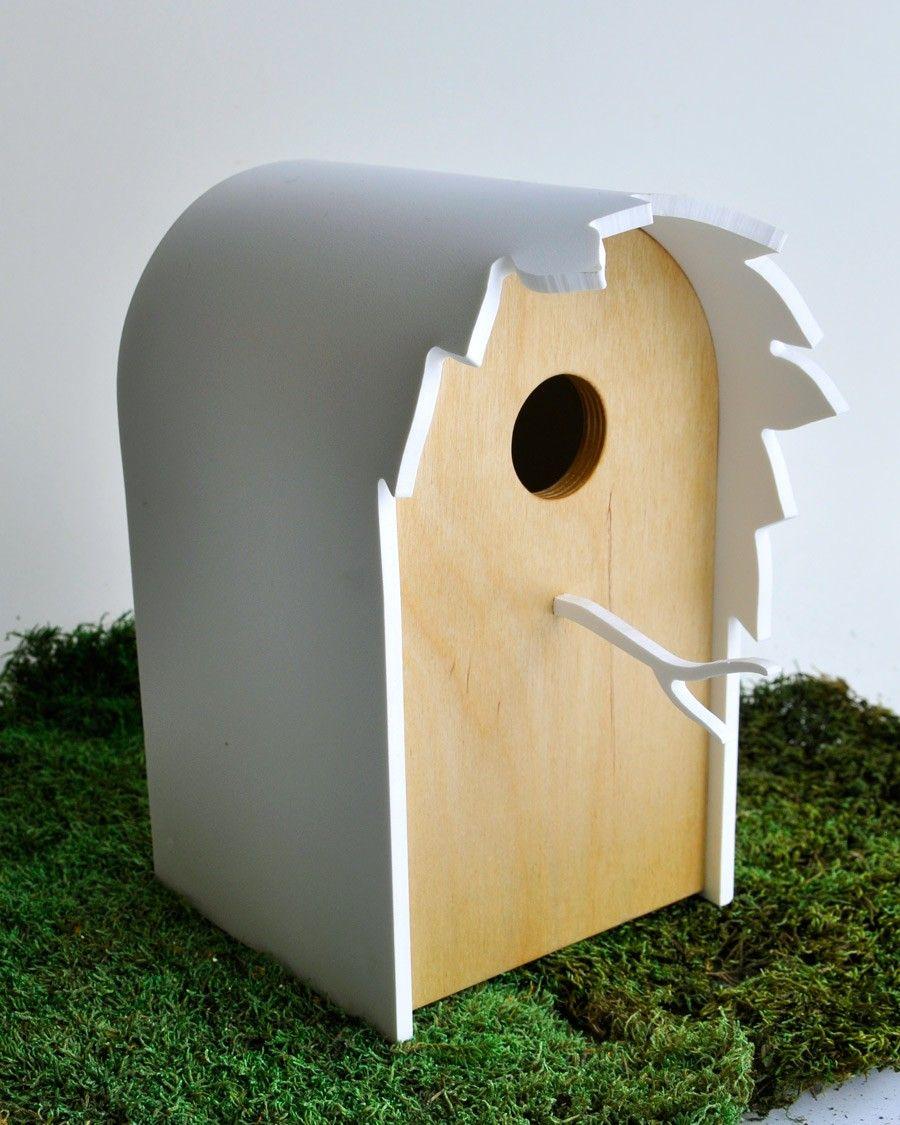 Even birds need a little modern lovin' Modern Birdhouse - Canopy series in Birch. $78.00, via Etsy.