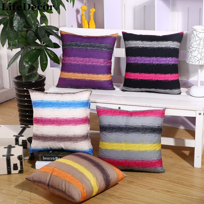 Velve Cushion Covers Euro Stripe Pillowcase Sofa Backrest Pillow Bag Office Chair Back Waist Home