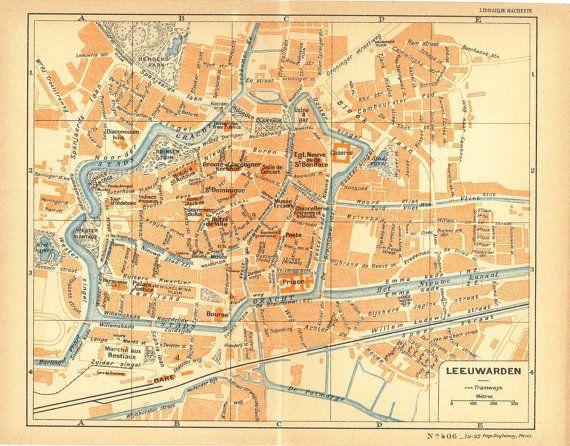 1926 Leeuwarden City Map Street Plan Netherlands Lithograph