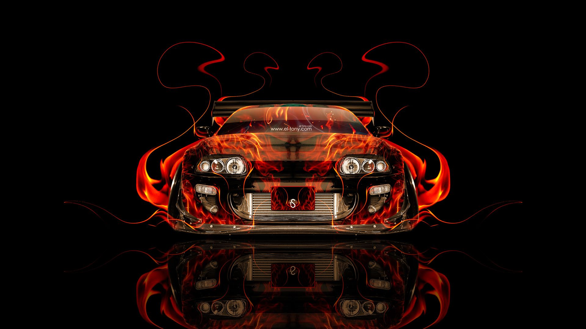 Etonnant Toyota Supra JDM Tuning Front Fire Abstract Car