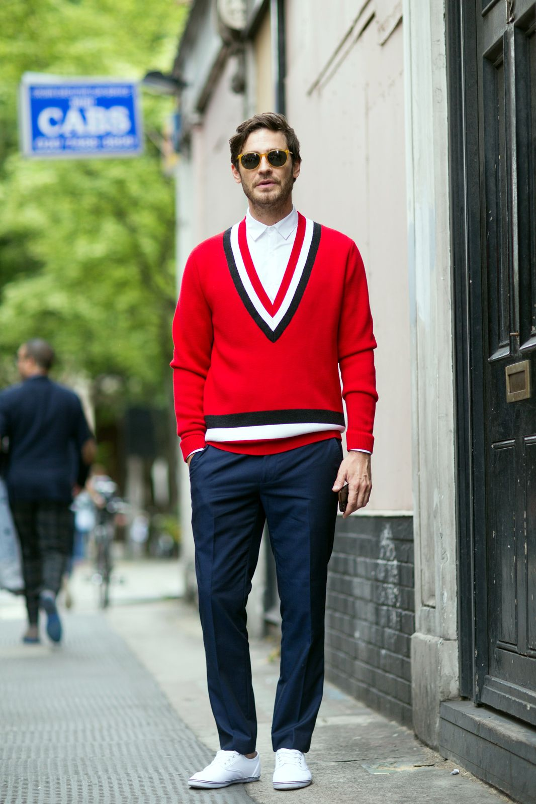 The 21 Most Fashionable Fellas In London #refinery29 http://www.refinery29.com/london-mens-fashion#slide1 Red, white, and blue. Now, that's a colour combination we can get behind.