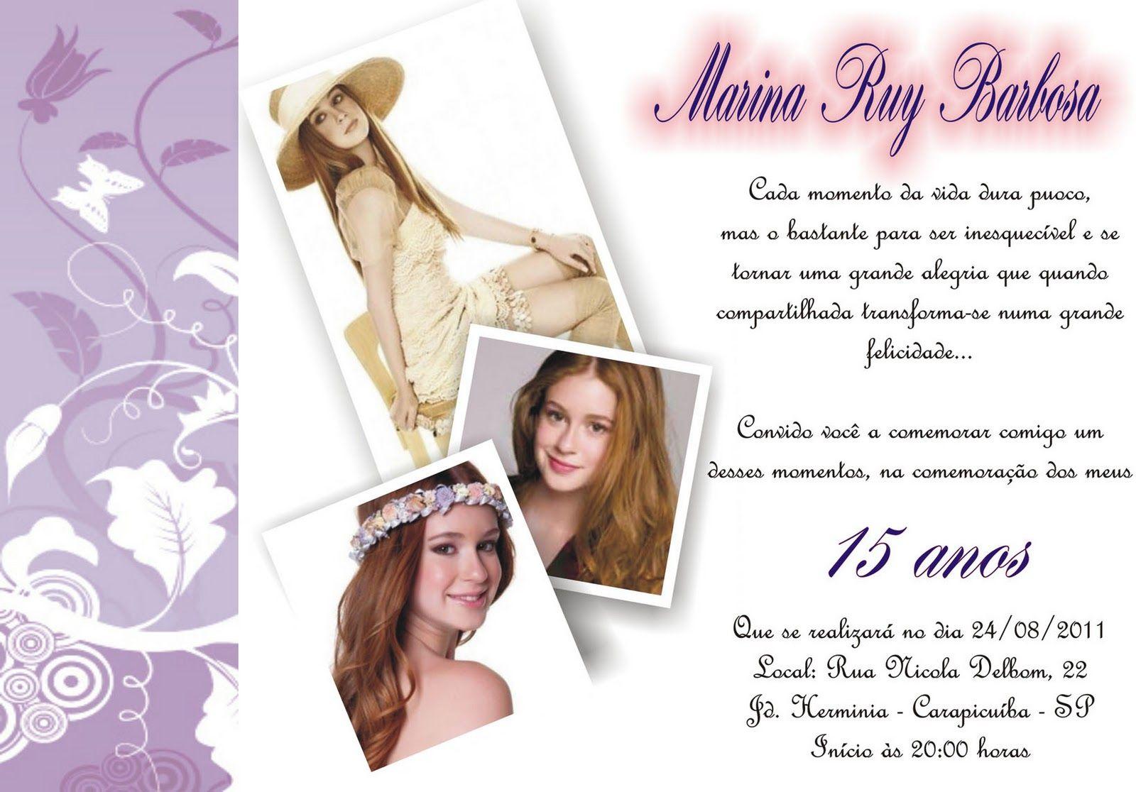 Aniversário Confira Modelos De Frases Para Convite De Festa De 15
