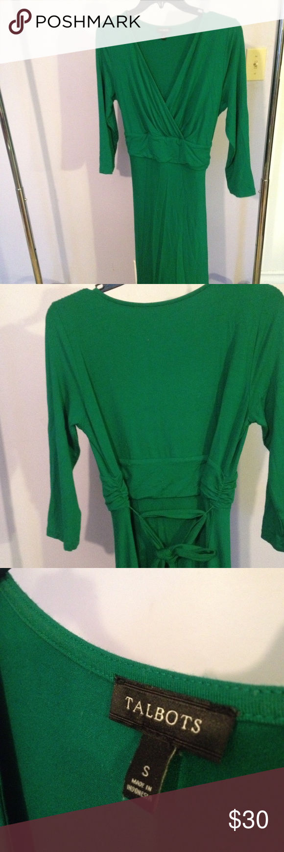 Talbots wrap dress This lovely dress is from Talbots. Bright green and cheery, this dress sits well on the body. Comes with a tie, to tie the dress whichever way you'd like. Size small. 3/4 sleeves. Talbots Dresses