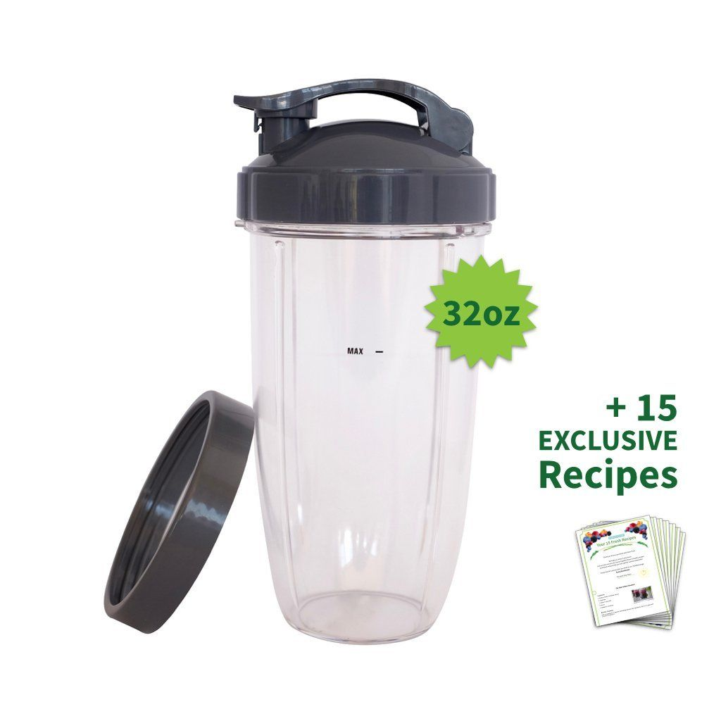 Cup for NUTRIBULLET 32 oz. Tall Colossal Cup with Flip Top   FREE Lip Ring