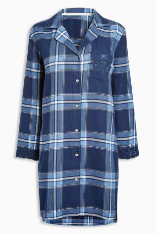 Buy Navy Lace Detail Check Nightshirt from the Next UK online shop ... 9dbd35a5e