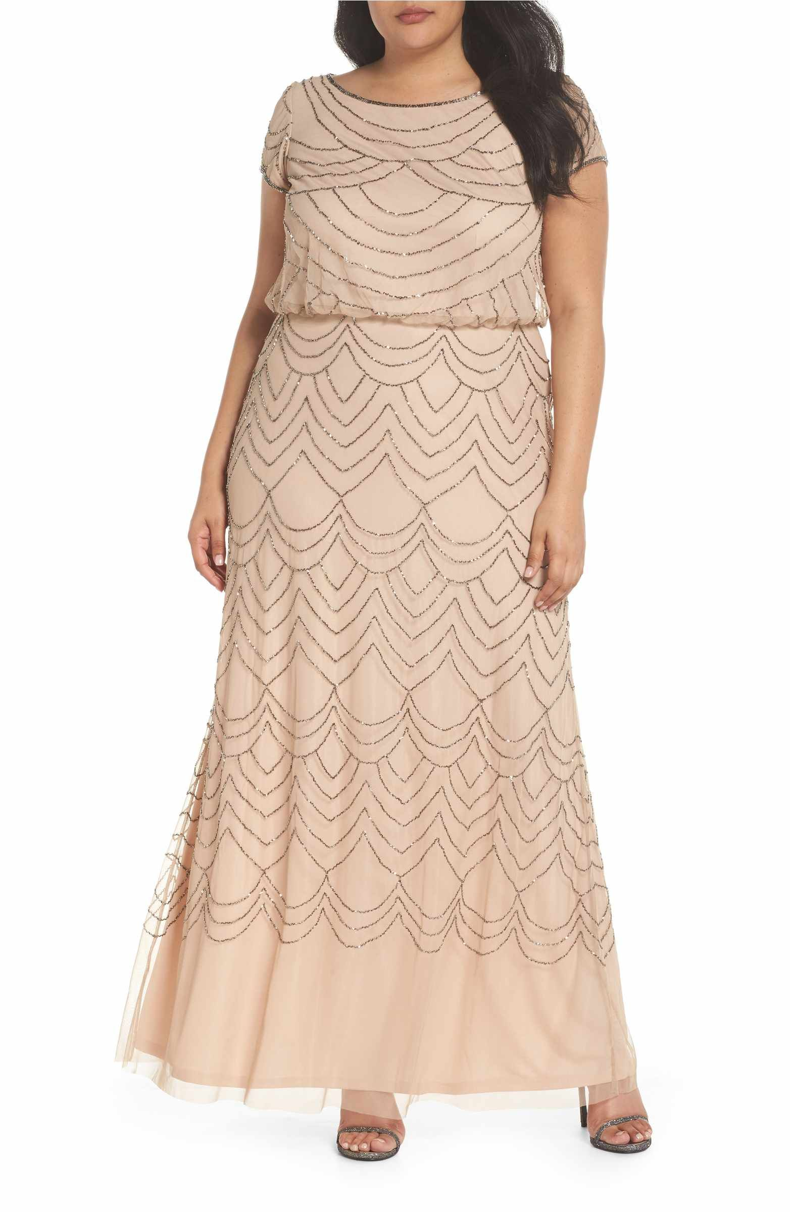 Jcpenney wedding dresses plus size  Beaded Blouson Gown  Adrianna papell Art deco design and Gowns