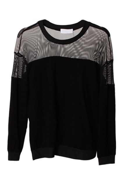 Spliced Mesh Perspective Black Pullover(Coming Soon) - Romwe