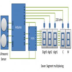 Distance Measurement Using Arduino Ultrasonic Sensors Circuit Diagram Arduino Arduino Projects Sensor