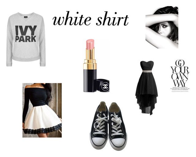 """""""white shirt"""" by vickydas ❤ liked on Polyvore featuring Topshop, Chanel and Converse"""