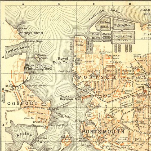 Map Of England Portsmouth.1907 Portsmouth Original Antique Map Street Plan Baedeker City
