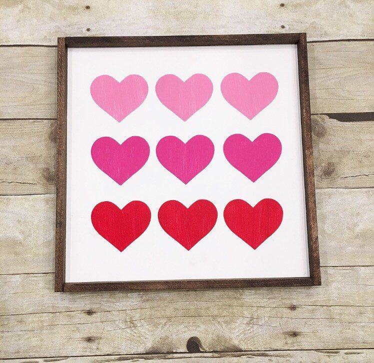 Ombre Hearts Valentine S Day Wood Sign Decor Wood Signs Woods And