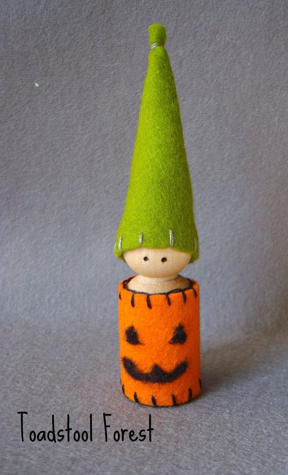 Waldorf+Inspired+Jack+O+Lantern+Gnome+Peg+by+TheToadstoolForest