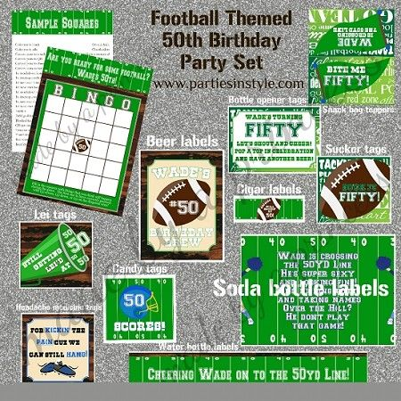 50th Birthday Party Printable Set Football Themed can also be used for 30th 40th or 60th birthday