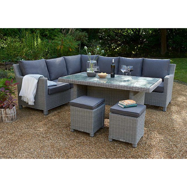 Kettler Paros 8 Seater Garden Dining Table And Chairs Set Grey: KETTLER Palma 8 Seater Garden Corner Set With Glass Top