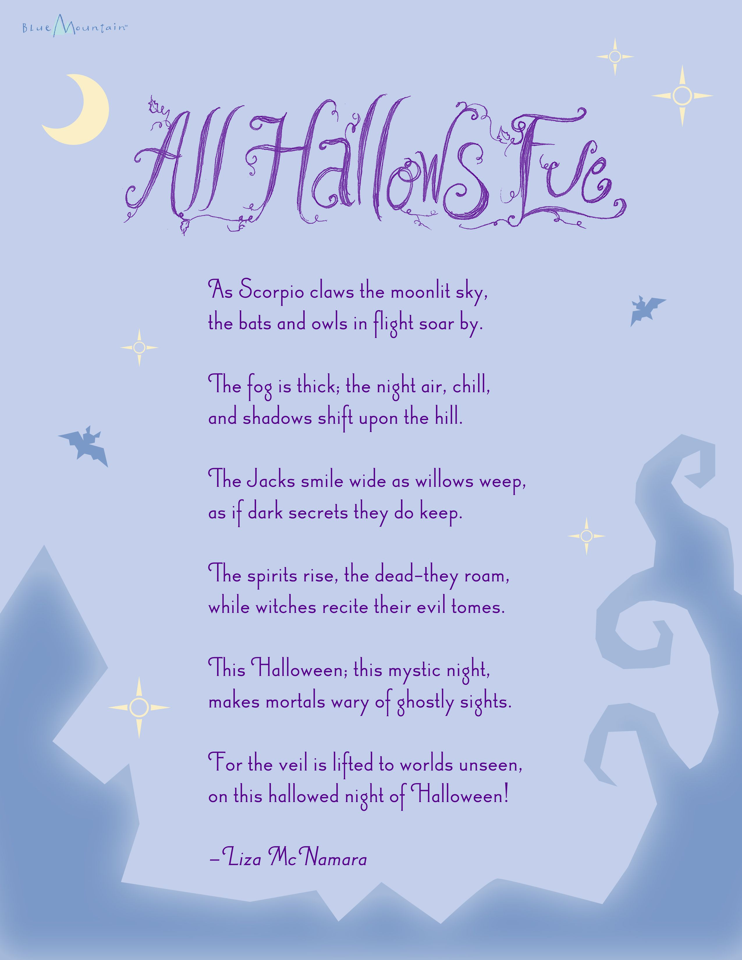printables greeting card and messages on pinterest - Good Halloween Poems