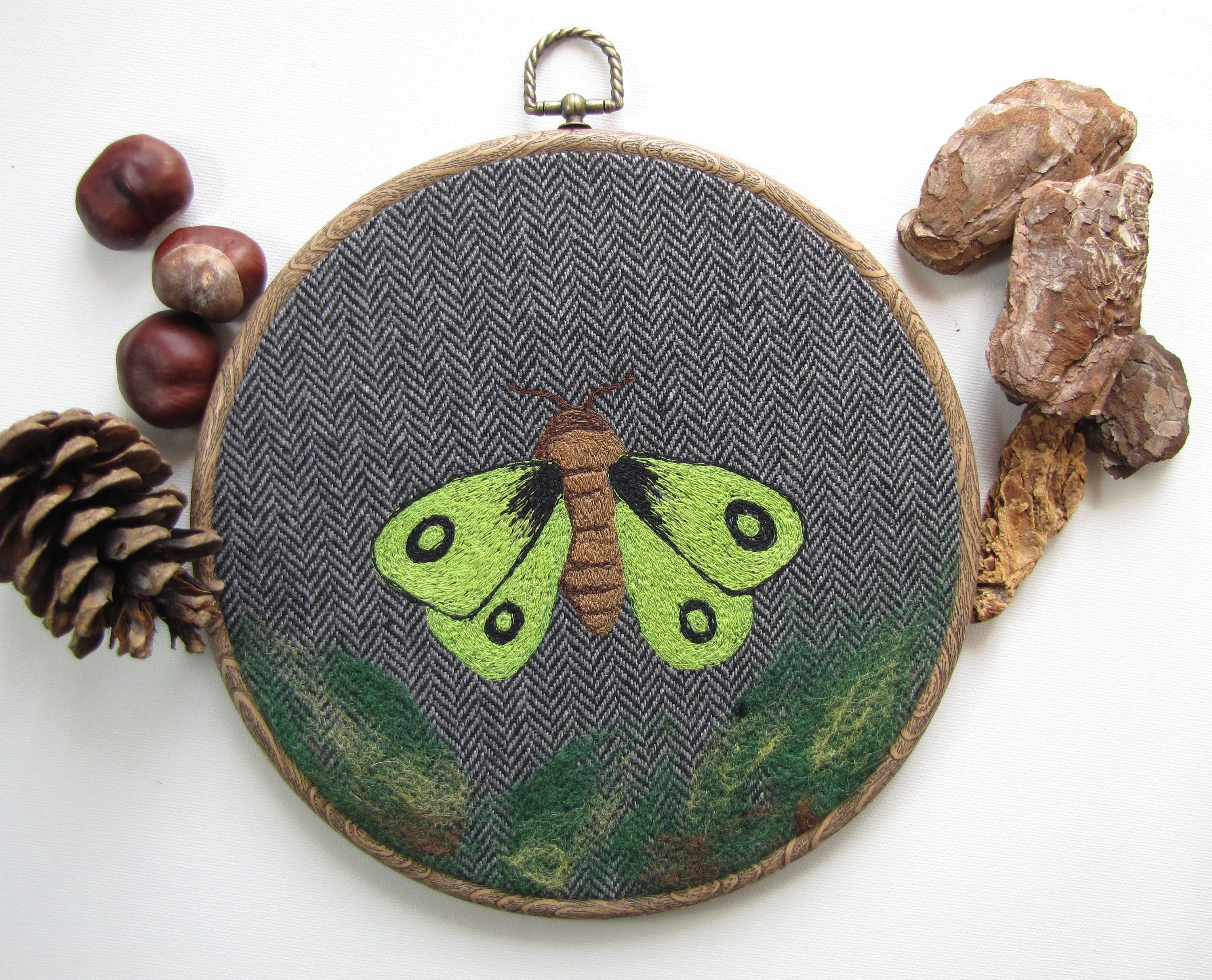 Moth embroidery, rustic home decor, boho style, nature textile art, embroidery hoop, moth art, fibre arts, housewarming gift by ApisStudios on Etsy
