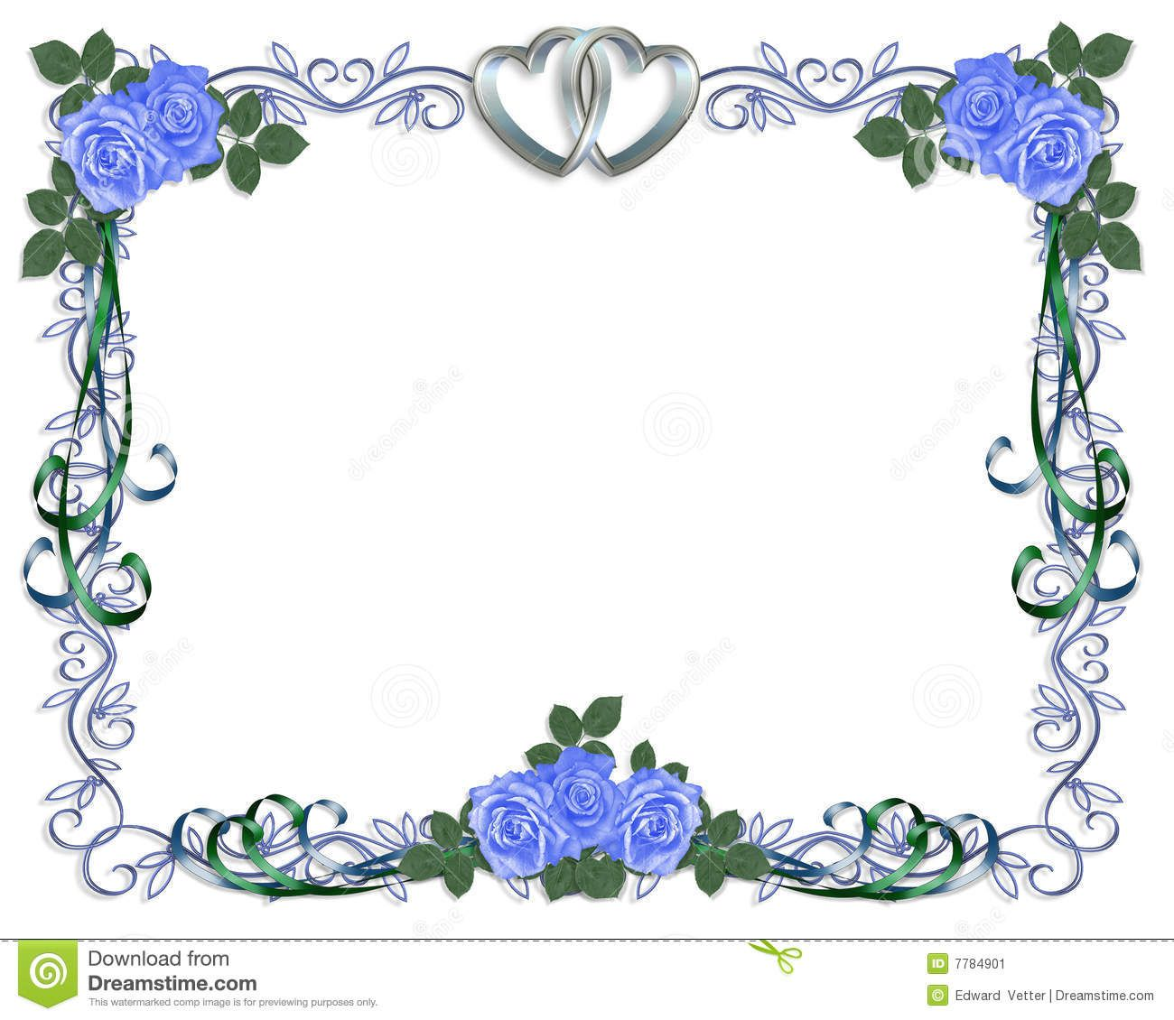 Wedding Invitation Blue Roses Border Stock Image Image 7784901 Wedding Invitations Borders Blue Wedding Invitations Fun Wedding Invitations